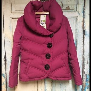 Sonia & Kyo Pink Down Button Jacket Large